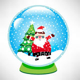 Christmas glass globe with santa Royalty Free Stock Photos