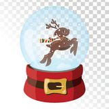 Christmas glass magic ball with Santa Claus deer. Transparent glass sphere with snowflakes. Vector illustration. Stock Photography