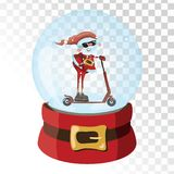 Christmas glass magic ball with Santa Claus. Transparent glass sphere with snowflakes. Vector illustration. Royalty Free Stock Photos