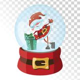 Christmas glass magic ball with Santa Claus. Transparent glass sphere with snowflakes. Vector illustration. Stock Image