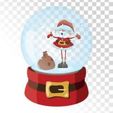 Christmas glass magic ball with Santa Claus. Transparent glass sphere with snowflakes. Vector illustration. Stock Photos