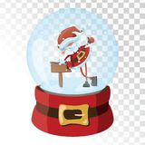 Christmas glass magic ball with Santa Claus. Transparent glass sphere with snowflakes. Vector illustration. Stock Photo