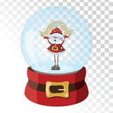 Christmas glass magic ball with Santa Claus. Transparent glass sphere with snowflakes. Vector illustration. Royalty Free Stock Photography