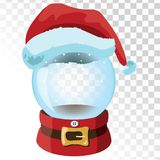 Christmas glass magic ball with santa hat. Transparent glass sphere with snowflakes. Vector illustration. Royalty Free Stock Photo