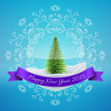 Christmas Glass Snow Ball with xmas tree and happy. New year greeting. Vector illustration for card, flyer, artwork, poster, banner Royalty Free Stock Photos