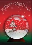 Christmas glass snow globe. Glass Christmas balls on snow background stock illustration