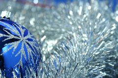 Christmas glass sphere of dark blue color 4 Royalty Free Stock Photos