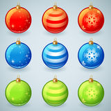 Christmas glass toy balls set   Royalty Free Stock Images