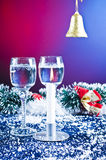 Christmas glasses and decoration Stock Photo