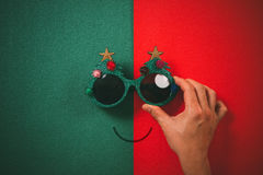 Free Christmas Glasses That Decoration With Christmas Tree And Red Ba Royalty Free Stock Photo - 95531165