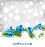 Christmas Glassy Balls, Shimmering Light Postcard. Illustration Christmas Glassy Balls, Shimmering Light Postcard - Vector Stock Photo