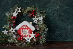 Christmas glazed gingerbread and festive decor. Place for text Royalty Free Stock Photo