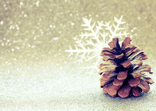Christmas glitter blurred background, pine cone, snowflake Stock Images