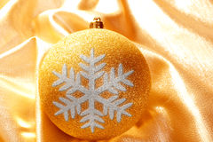 Christmas glitter golden snowflake bauble Stock Photo