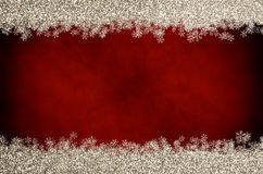 Christmas Glitter Snowflake Border on Red Royalty Free Stock Images