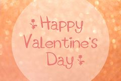 Christmas glittering background. Festive abstract glittering defocused pink background with with Happy Valentine`s Day Greeting Royalty Free Stock Photography