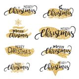 Christmas glittering brushes and text  background in vector Royalty Free Stock Photography
