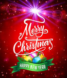 Christmas Glittery Background with Merry Christmas Lettering and Christmas Objects. Vector Illustration Stock Photography