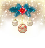 Christmas gliwing background with fir branches, glass balls and. Illustration Christmas gliwing background with fir branches, glass balls and flower poinsettia Stock Photography