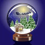 Christmas globe. Vector snow dome illustration with various elements royalty free illustration