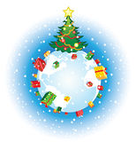 Christmas globe. Vector illustration of a Christmas tree and gifts around the earth royalty free illustration