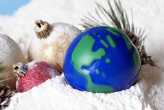 Christmas Globe Earth Stock Photography