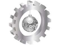 Christmas globe inside of gear Stock Photography