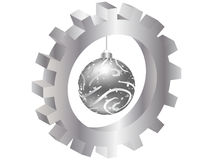 Christmas globe inside of gear Stock Photos