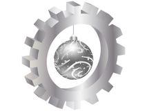 Christmas globe inside of gear Stock Photos
