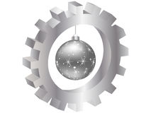 Christmas globe inside of gear Royalty Free Stock Photography