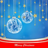 Christmas globe with stars background. On blue Royalty Free Stock Photography