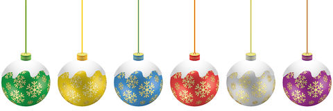 Christmas globes. A set of colored Christmas globes Stock Photography