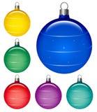 Christmas globes. Shiny Christmas ball in six color; illustration Royalty Free Stock Photo