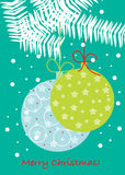 Christmas globes on branch Stock Images