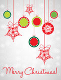 Christmas globes decorative card Royalty Free Stock Photos