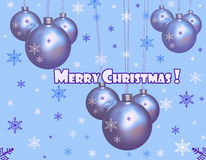 Christmas globes greeting card Stock Image