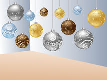Christmas globes in the room Stock Image