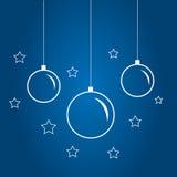 Christmas globes set isolated on blue. Monochrome illustration of Christmas globes set isolated on blue Royalty Free Stock Photos