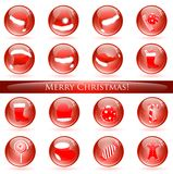 Christmas glossy balls. Set of different glossy balls with Christmas and New year themes royalty free illustration