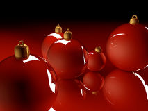 Christmas glossy baubles red balls 3d render Stock Image