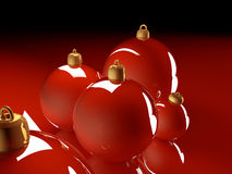 Christmas glossy baubles red balls 3d render Royalty Free Stock Photo