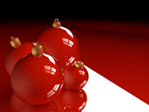 Christmas glossy baubles red balls 3d render Stock Photography