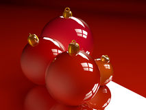 Christmas glossy baubles red balls 3d render Royalty Free Stock Images