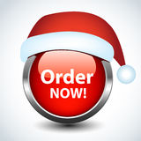 Christmas glossy button. Royalty Free Stock Images