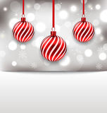 Christmas glossy card with red balls Stock Photography