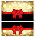 Christmas glossy cards with gift bows and roses Stock Images