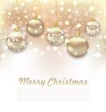 Christmas Glossy Postcard with Beautiful Balls Royalty Free Stock Photos