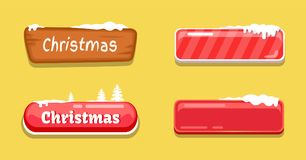Christmas Glossy Web Push Buttons Covered by Snow. Empty and with text, decorated by spruce trees vector online shopping signs isolated on orange icons Stock Photography