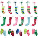 Christmas Glove and Stocking Set Stock Photos