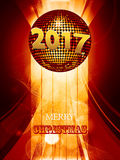 Christmas 2017 glowing background with disco ball Royalty Free Stock Image